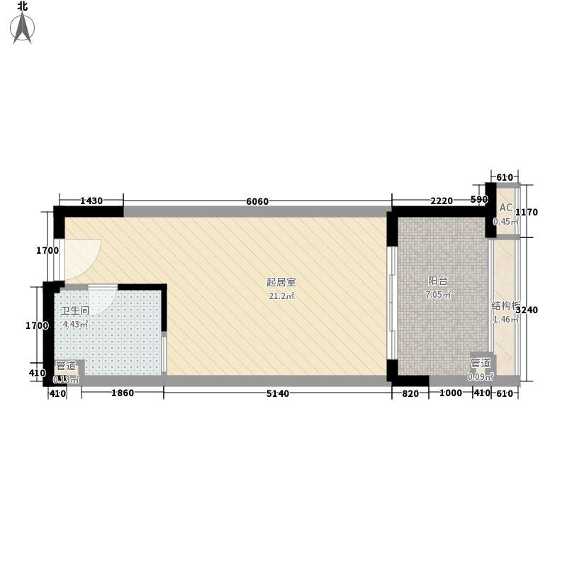 太湖天城51.00㎡1、2#51㎡E户型1室1厅1卫1厨
