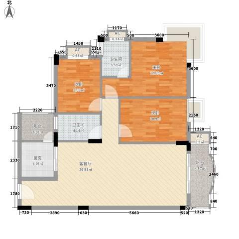 碧湖花园3室1厅2卫1厨129.00㎡户型图