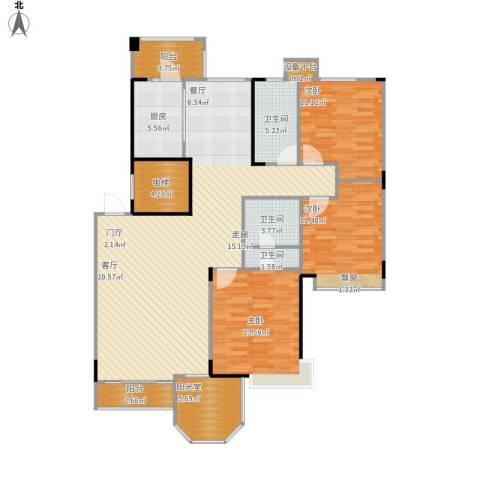 中远颐和丽园二期3室1厅3卫1厨156.00㎡户型图