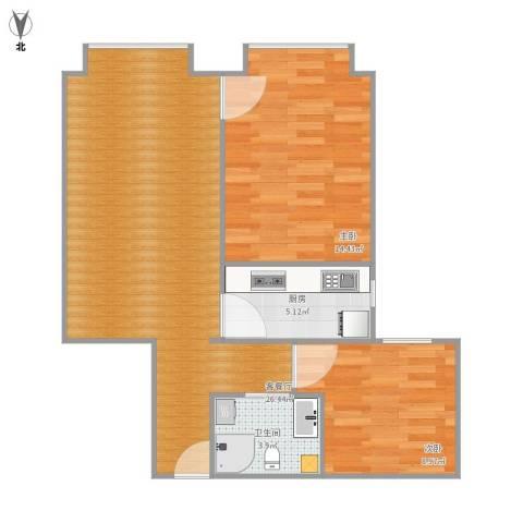 北京明发广场2室1厅1卫1厨62.67㎡户型图