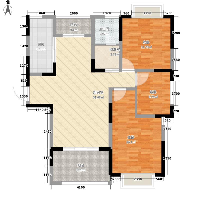 国基桂花小镇127.00㎡8#楼D3户型3室2厅1卫1厨