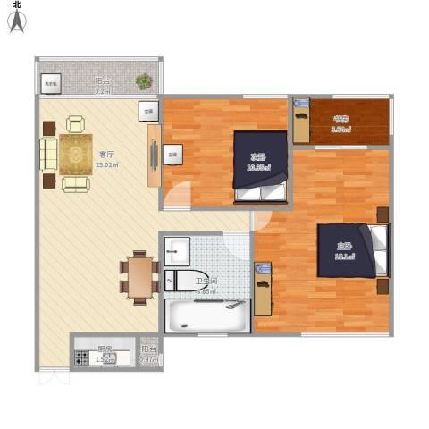 丽景名城3室1厅1卫1厨80.00㎡户型图