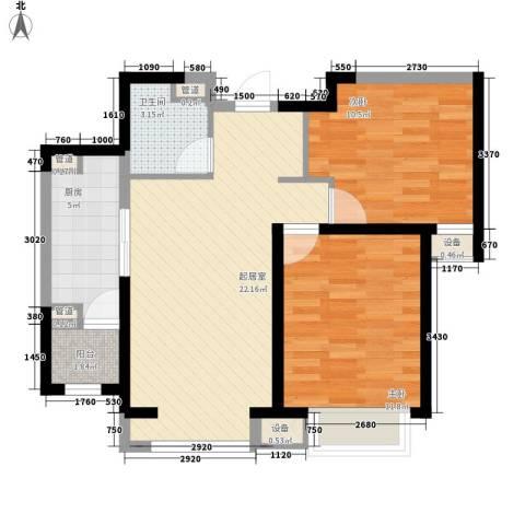 富力城・文栖谷2室0厅1卫1厨83.00㎡户型图