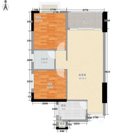海是天下别墅2室0厅1卫1厨85.00㎡户型图