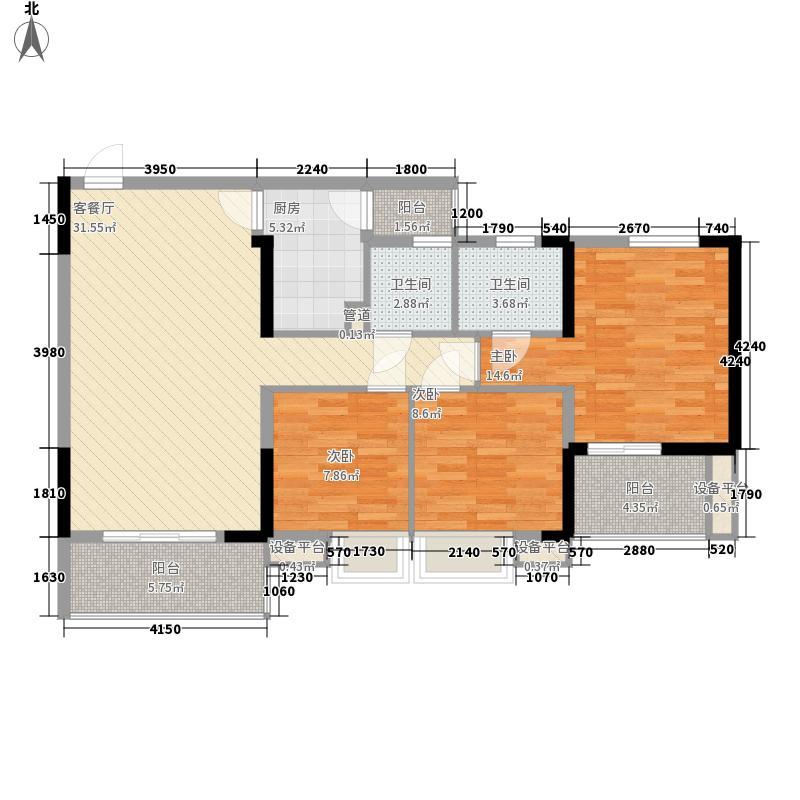 芙蓉华庭112.00㎡F1型户型3室2厅2卫1厨