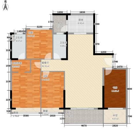 丰泰城市公馆4室1厅2卫1厨143.00㎡户型图