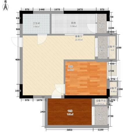 亚美沙发里2室1厅1卫1厨60.00㎡户型图