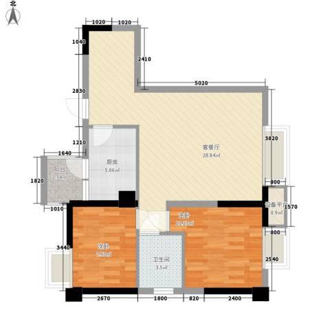 亚美沙发里2室1厅1卫1厨64.00㎡户型图