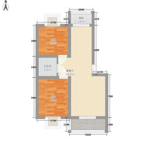 福景家园2室1厅1卫1厨61.00㎡户型图