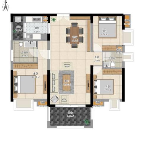 中信凯旋城别墅3室1厅2卫1厨122.00㎡户型图