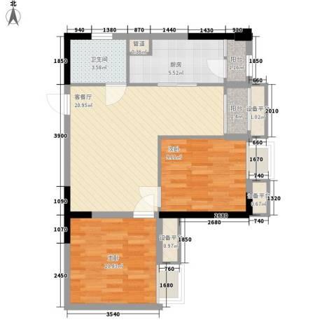 亚美沙发里2室1厅1卫1厨61.00㎡户型图