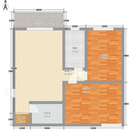 福景家园2室1厅1卫1厨102.00㎡户型图