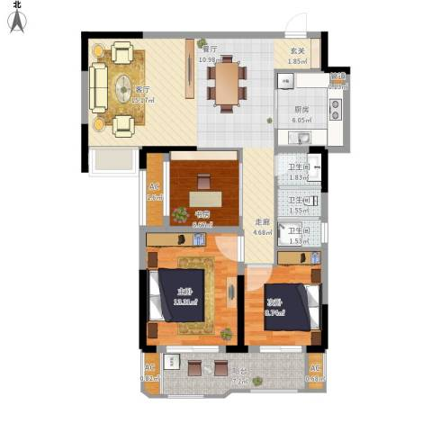 联投国际城3室1厅3卫1厨119.00㎡户型图