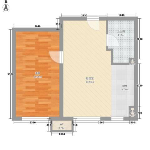 万科新里程1室0厅1卫0厨61.00㎡户型图