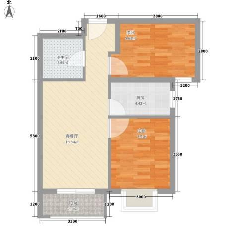 荷花盛世二期2室1厅1卫1厨52.00㎡户型图