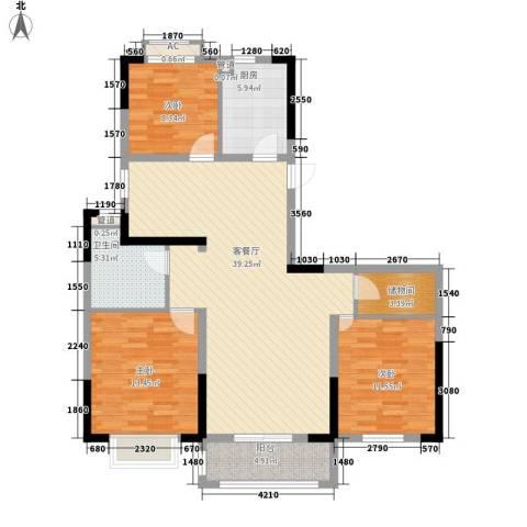广弘城国际社区3室1厅1卫1厨106.07㎡户型图