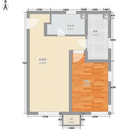 万科新里程1室0厅1卫1厨65.00㎡户型图