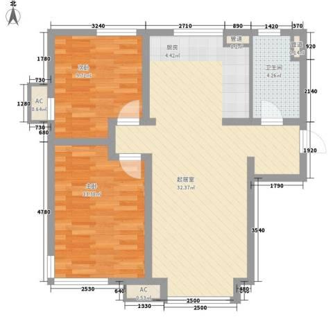 万科新里程2室0厅1卫0厨88.00㎡户型图