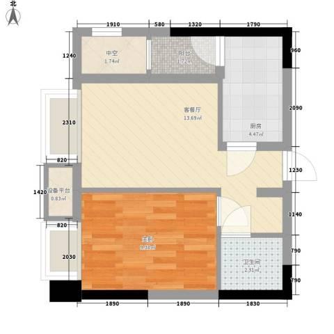 亚美沙发里1室1厅1卫1厨35.00㎡户型图