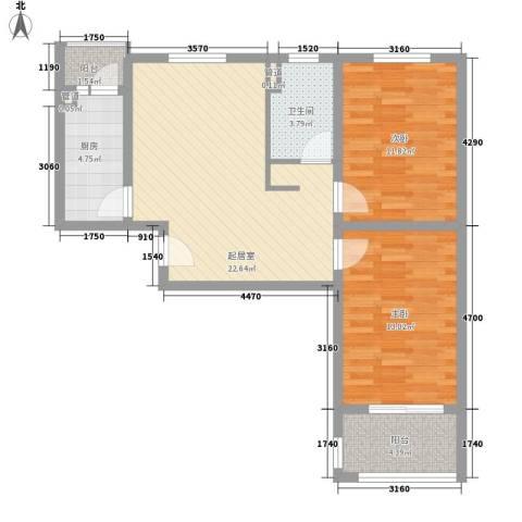 中信虹港名庭2室0厅1卫1厨90.00㎡户型图