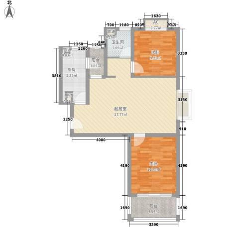 中信虹港名庭2室0厅1卫1厨93.00㎡户型图