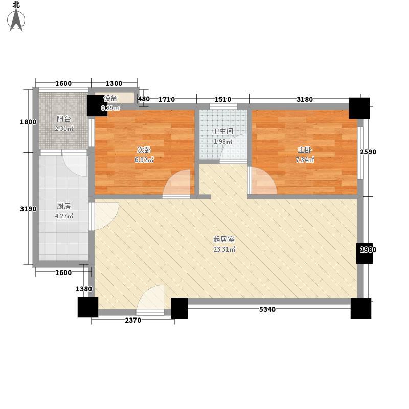 colour彼岸64.37㎡D8型户型2室1厅1卫1厨