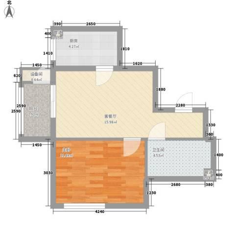 更新小区1室1厅1卫1厨58.00㎡户型图