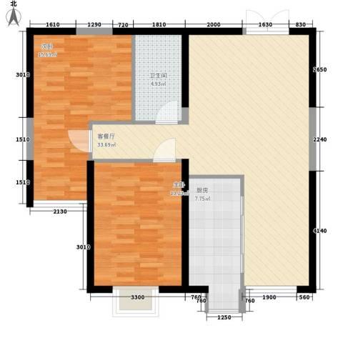 景苑新区2室1厅1卫1厨105.00㎡户型图