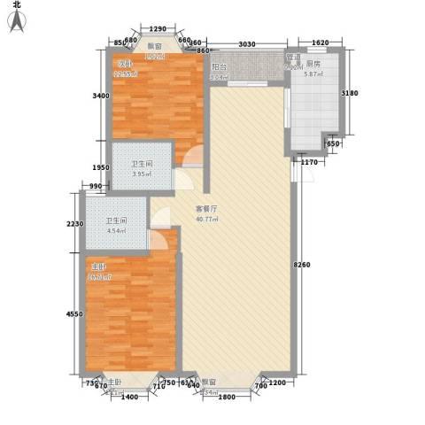 丰登公寓2室1厅2卫1厨125.00㎡户型图