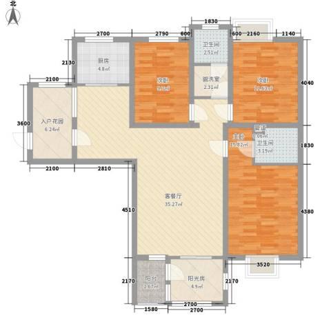 景苑新区3室1厅2卫1厨143.00㎡户型图