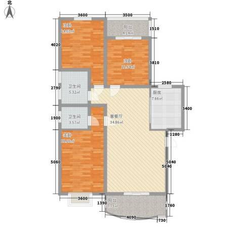丰登公寓3室1厅2卫1厨152.00㎡户型图