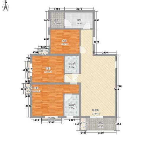 侯家塘建设银行宿舍3室1厅2卫1厨130.00㎡户型图