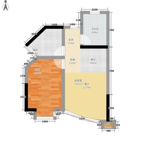港城静园1室0厅1卫1厨47.00㎡户型图