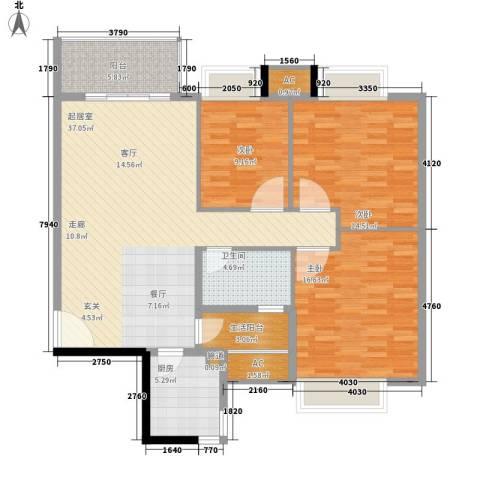 长青城3室0厅1卫1厨110.00㎡户型图