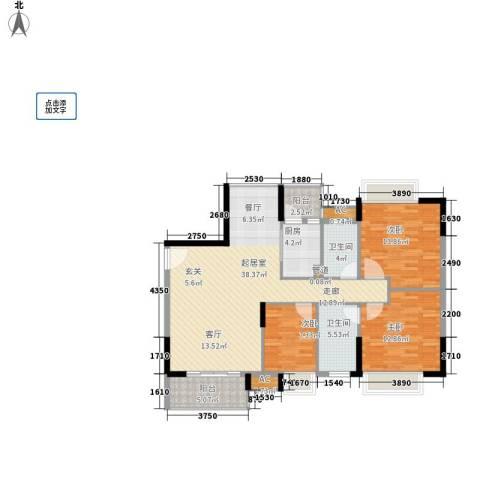 长青城3室0厅2卫1厨107.00㎡户型图