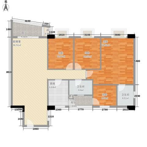 花街18三期4室0厅2卫1厨147.00㎡户型图