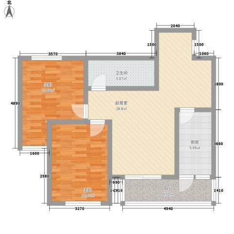 新星花园2室0厅1卫1厨100.00㎡户型图