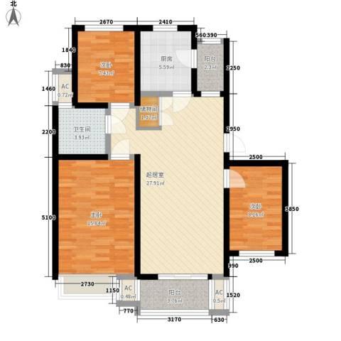 天华绿谷庄园3室0厅1卫1厨91.00㎡户型图