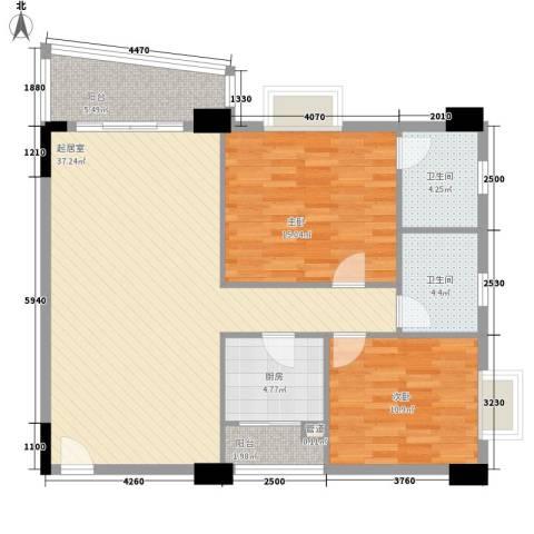 花街18三期2室0厅2卫1厨103.00㎡户型图