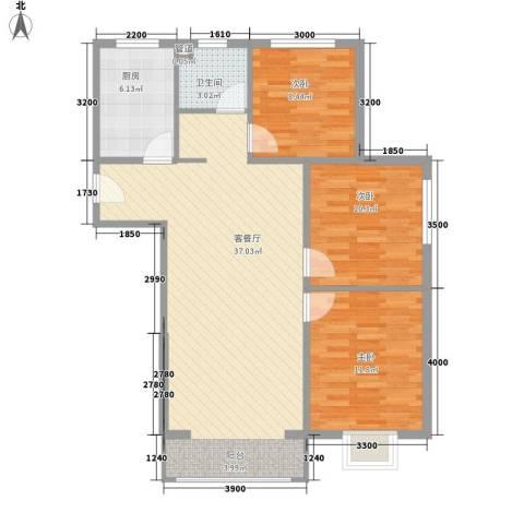 荷花盛世二期3室1厅1卫1厨113.00㎡户型图