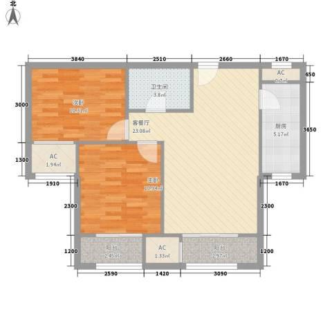 碧水蓝天2室1厅1卫1厨86.00㎡户型图