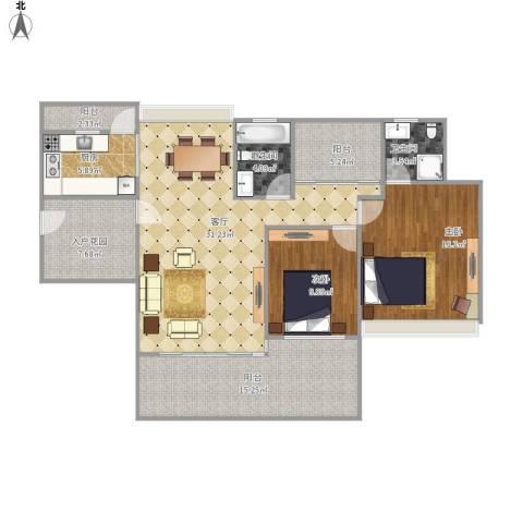 中海万锦东苑2室1厅2卫1厨137.00㎡户型图