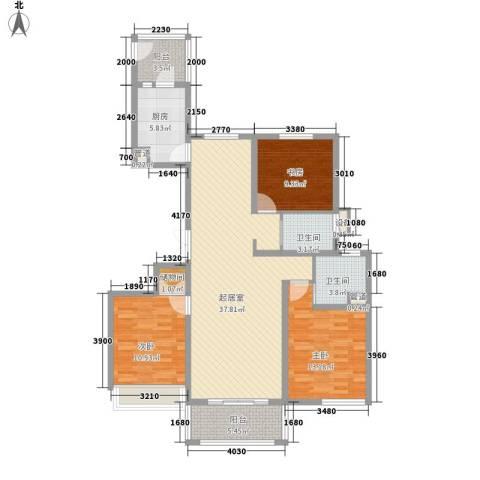 中信虹港名庭3室0厅2卫1厨140.00㎡户型图