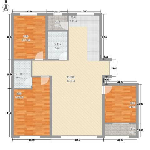 都市左岸3室0厅2卫0厨138.00㎡户型图