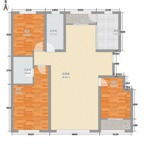 都市左岸3室0厅2卫1厨152.00㎡户型图