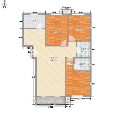 碧水蓝天3室1厅2卫1厨125.00㎡户型图