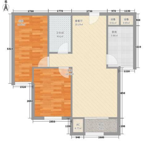 碧水蓝天2室1厅1卫1厨88.00㎡户型图