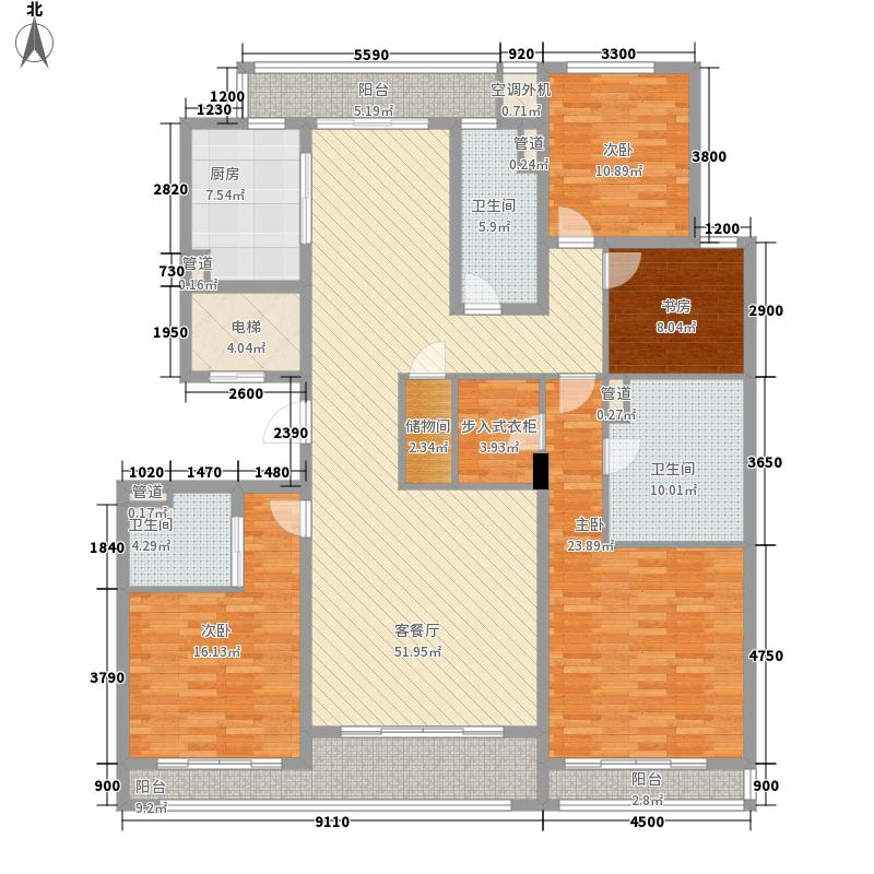 绿城西溪诚园204.00㎡一期H-1户型4室2厅