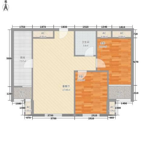 碧水蓝天2室1厅1卫1厨94.00㎡户型图
