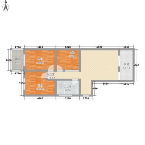 新星花园3室0厅1卫1厨106.00㎡户型图